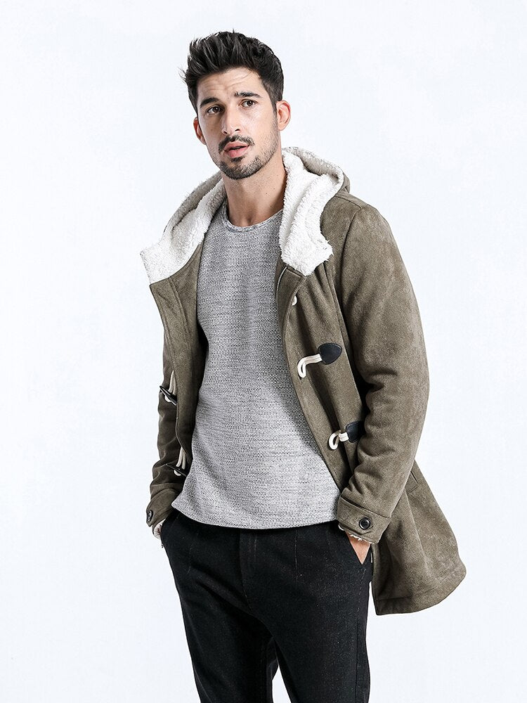 Men Winter Coats Casual Long Faux Suede Men Jackets Winter Outerwear Warm Thick Brand Clothing manteau homme