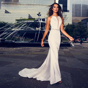 Satin Mermaid Wedding Dresses Vestido De Noiva Sereia Sexy Backless Shiny Beading Waist Simple White Gowns - LiveTrendsX