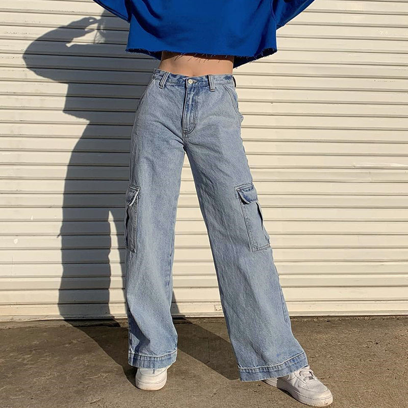 Pockets Patchwork High Waist Jeans Women Streetwear Straight Jean Femme Blue 100% Cotton Cargo Pants - LiveTrendsX