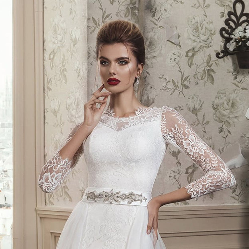 Beaded Crystal Waist Lace Long Sleeve With Removable Train Vestido De Noiva Renda Vintage Wedding Gowns - LiveTrendsX