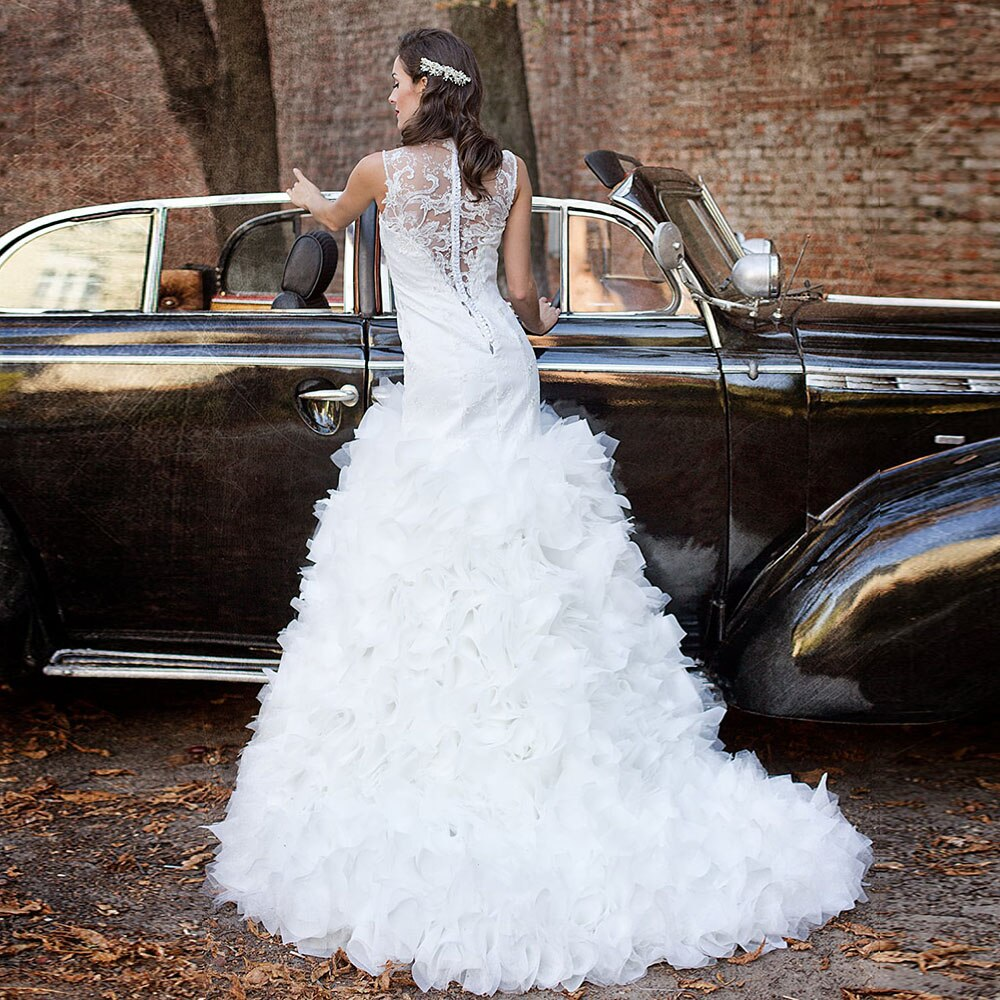 New Special Beading Sequined Appliques Lace Mermaid Wedding Dress With Ruffles Skirt  White Trumpet Bride Gowns - LiveTrendsX