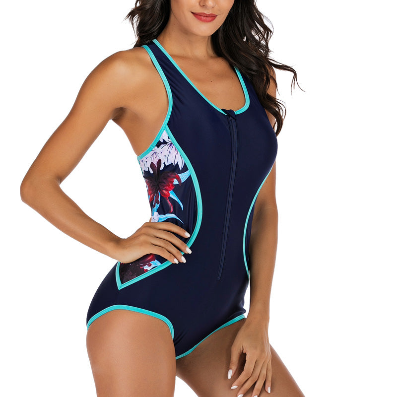 One Piece Swimsuit Women Floral Printing Competition Swimwear 2020 Racerback Rash Guards New Bathing Suits - LiveTrendsX