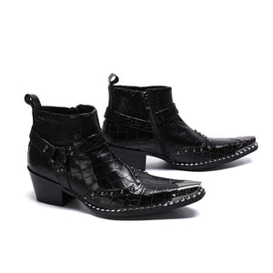Fashion British Rivets Men Ankle Boots Punk Real Leather Motorcycle Boots Fashion Man Formal Dress Boot Plus Size - LiveTrendsX