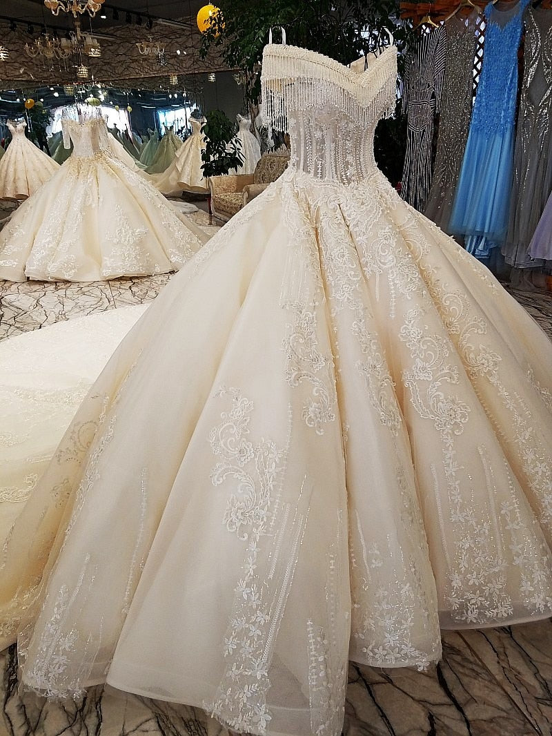 ivory off shoulder sweetheart ball gown lace up back hand work wedding dresses from china vestido de noiva hot selling - LiveTrendsX