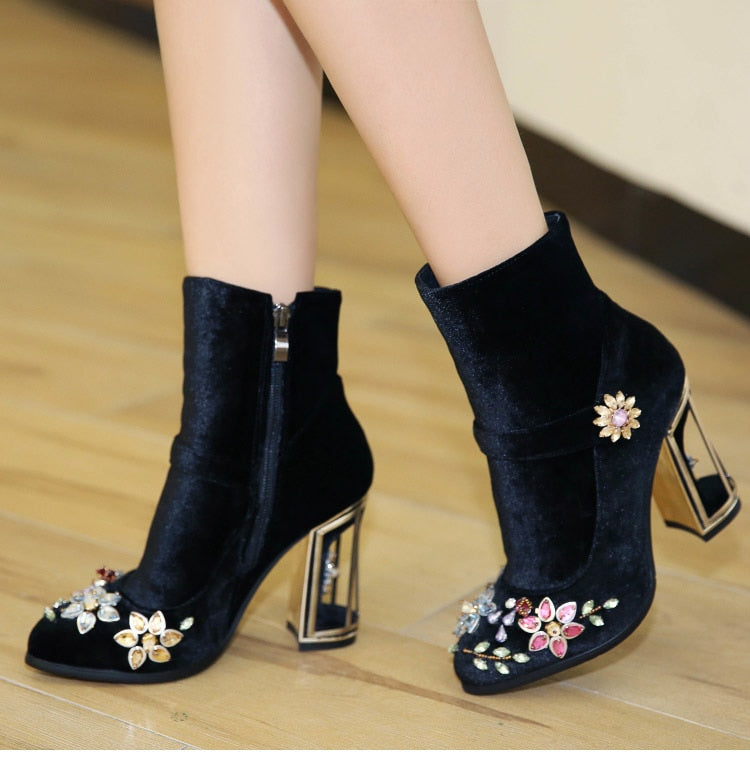 black rhinestone flower women boots for wedding retro ladies ankle boots bird cage high heels zipper velvet shoes FT466 - LiveTrendsX