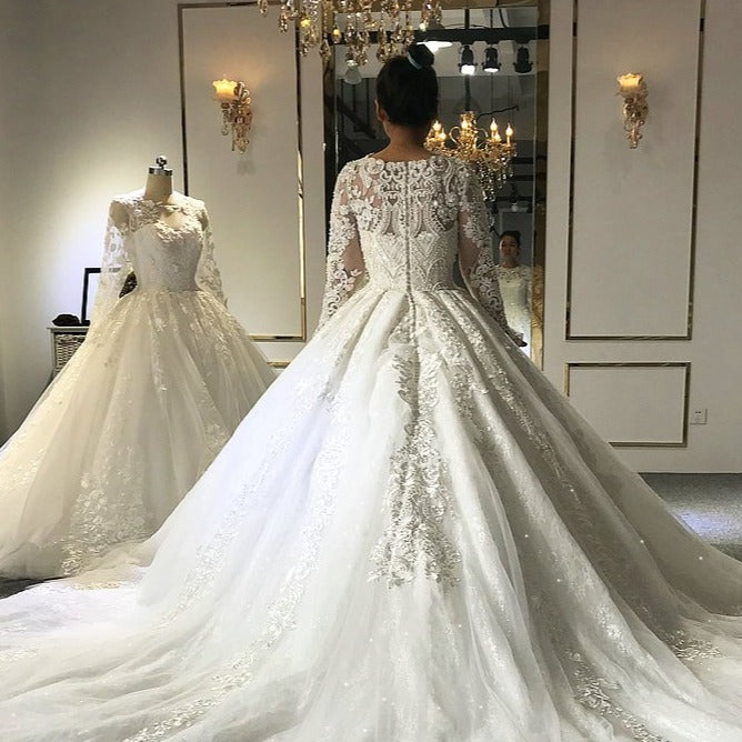 wedding dress 2020 Muslim wedding dress with full lace sleeves  real work - LiveTrendsX
