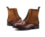 Genuine Leather Round Toe Men's Handmade Military Ankle Boots - LiveTrendsX