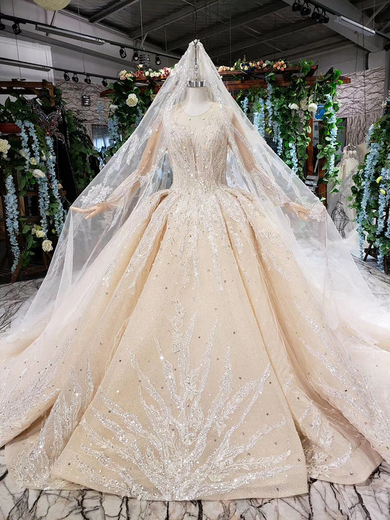 princess ball gown wedding dresses long sleeve o-neck appliques champagne lace wedding gowns with wedding veil mariage - LiveTrendsX