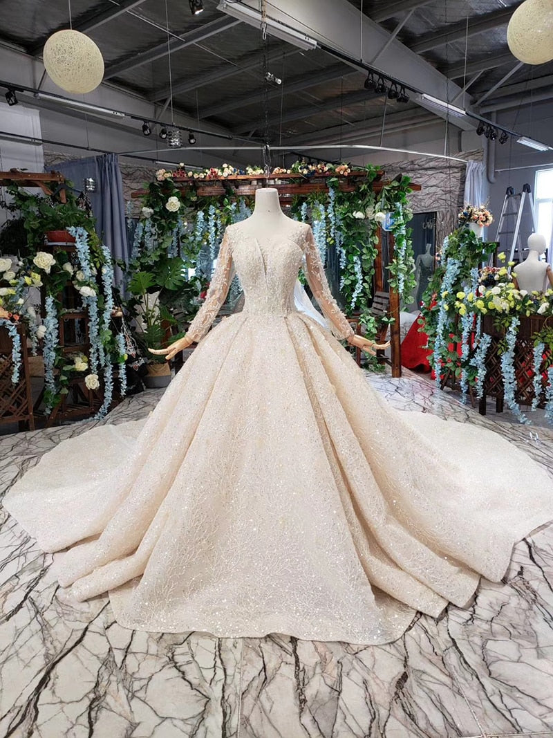 Luxury wedding dresses with royal train o-neck long sleeves heavy handmade bridal gowns high-end vestido de casamento - LiveTrendsX