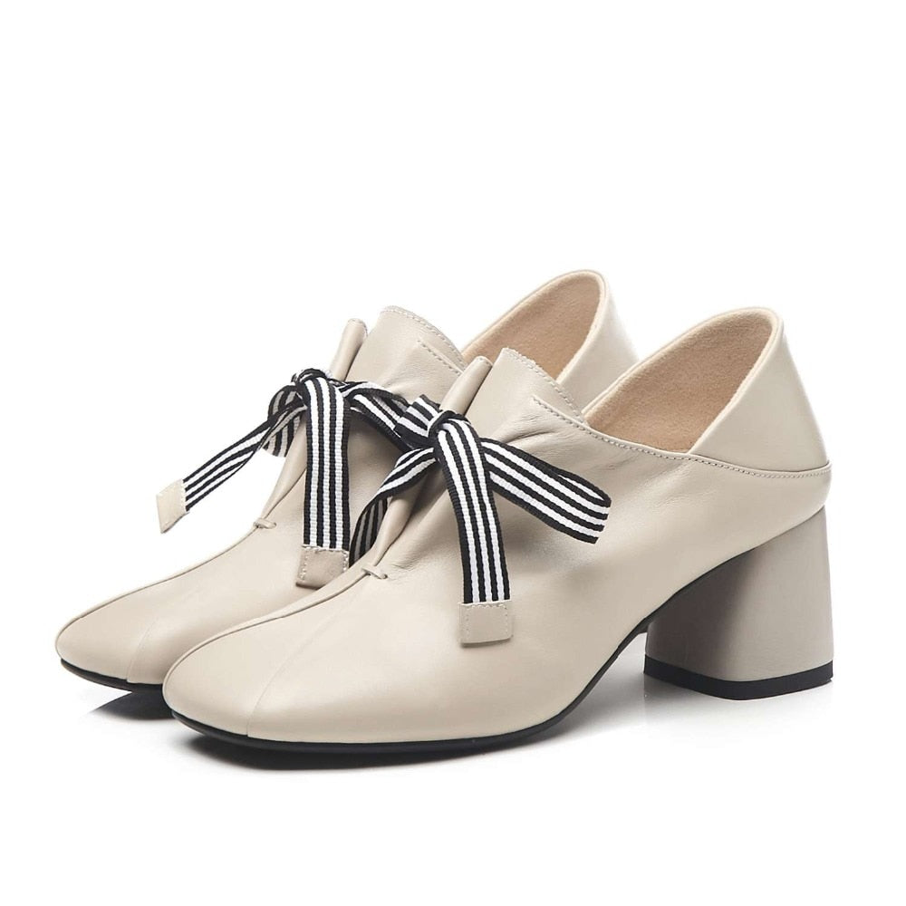 Original design striped lace up fashion British style thick med heels daily wear pumps square toe genuine leather shoes - LiveTrendsX