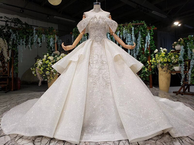 vestido de noiva princess wedding dresses off shoulder bead collar chain shiny wedding gown royal train trajes de novia - LiveTrendsX