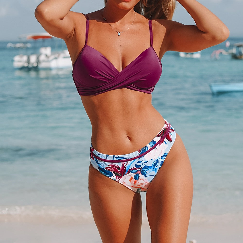 Push Up Floral Wrap Bikini Sets Women Sexy Thong Two Pieces Swimsuits 2020 Girl Beach Bathing Suits Swimwear - LiveTrendsX