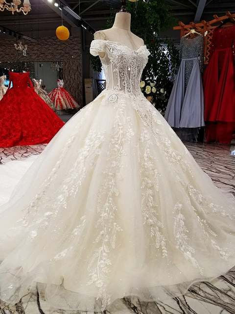 ball gown wedding dresses off shoulder sweetheart  lace up wedding dress with long train from china 100% real as photos - LiveTrendsX