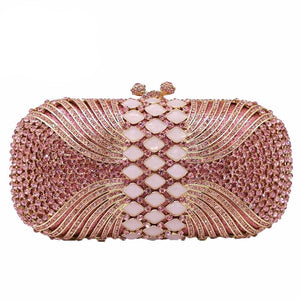 Pink Diamond Women Evening Bags Bridal Crystal Clutch Handbags and Purses Wedding Banquet Dinner Minaudiere Bag - LiveTrendsX