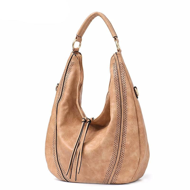 New Fashion Women Handbags Soft Ladies PU Leather Shoulder Bags Hollow Out Large Female Hobos Zipper Tassel Tote Bags - LiveTrendsX