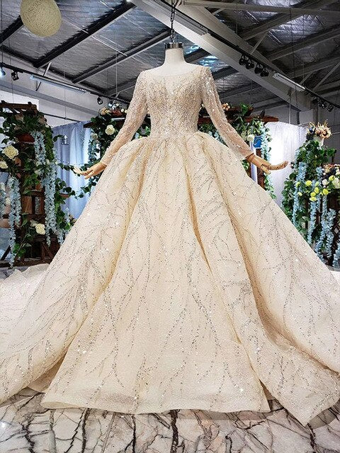 champagne gold wedding dresses with train o neck long sleeve ball gown lace wedding gowns vestido de noiva 2019 luxo - LiveTrendsX
