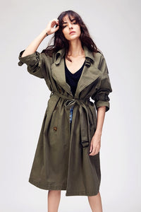 New Women's Casual trench coat oversize Double Breasted Vintage Washed Outwear Loose Clothing - LiveTrendsX