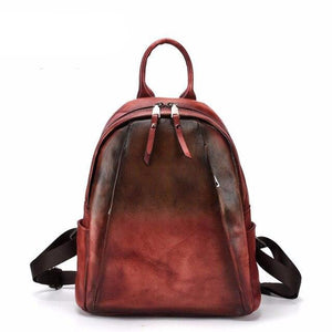 Vintage hand-brushed female bag tree high leather portable practical backpack personality shoulder bag first layer leather - LiveTrendsX
