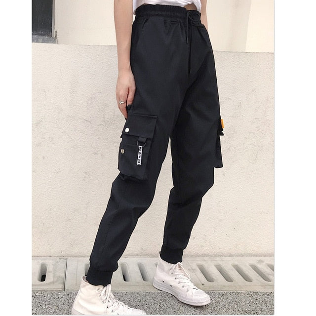 Hot Big Pockets Cargo pants women High Waist Loose Streetwear pants Baggy Tactical Trouser hip hop high quality joggers pants - LiveTrendsX