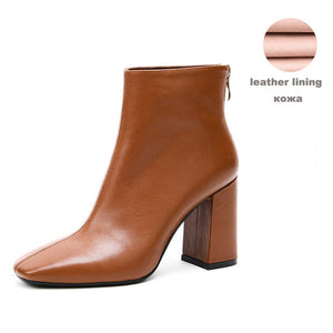 Genuine Leather Footwear 2020 New Arrival Ankle Boots Rubber Riding Feminine Shoes Women's  High Heels Booties - LiveTrendsX