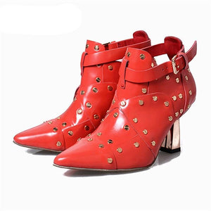 Red Women Ankle Boots High Heels Buckle Shoes Women Pumps Dress Wedding Shoes Rivet Botines Mujer Straps Summer Boots - LiveTrendsX