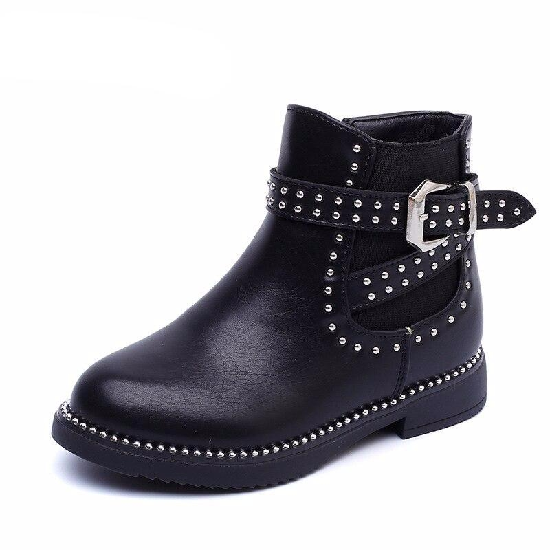 Winter Baby Girl Ankle Boots Kid Brand Chelsea Boots Children Rivet Warm Shoes Fashion Soft Pu Leather Black Shoes - LiveTrendsX