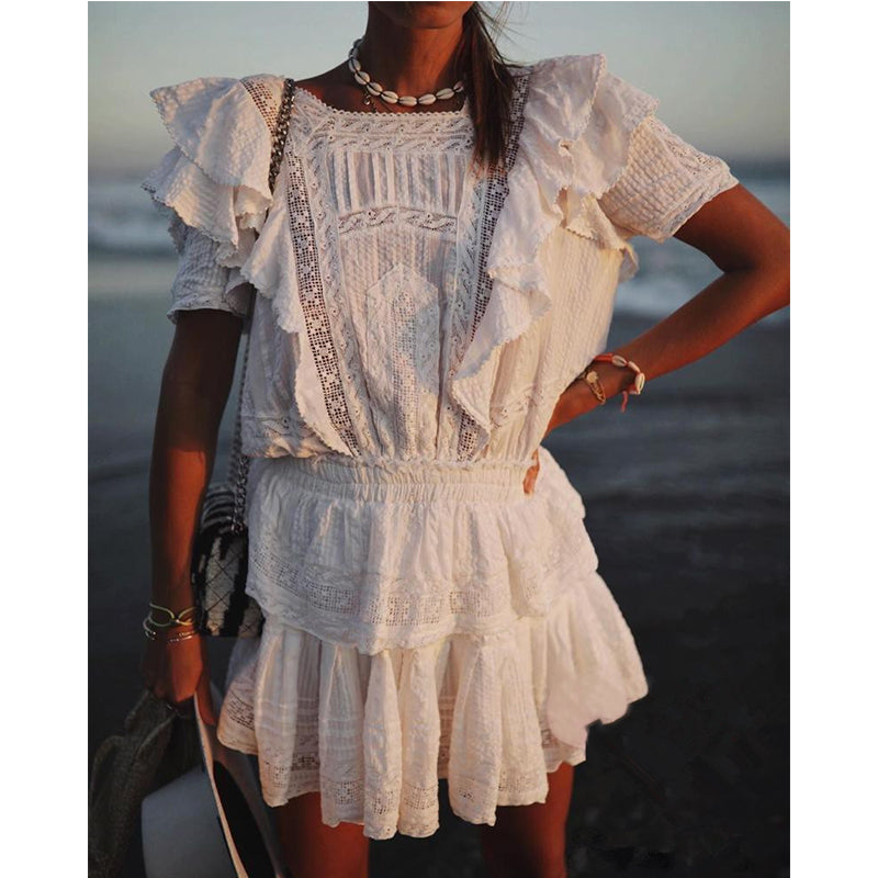 High-end White Cotton Draped Two Piece Set Women  Summer Ruffles Top+High Waist Ball Gown Skirt Set - LiveTrendsX