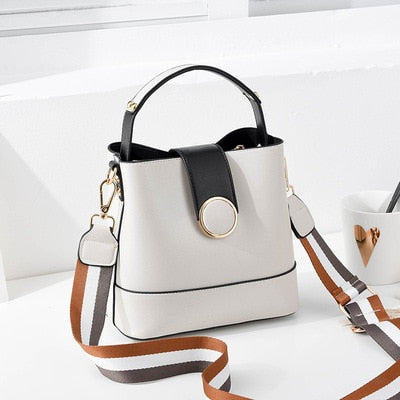 Striped Wide Shoulder Strap Women Bucket Bag Solid Color Buckle Handbag Fashion Simple Shoulder Bags High Quality Purses - LiveTrendsX