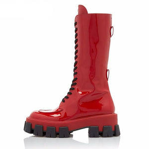Red Pink Patent Leather Lady Rubber Boots Flat Platform Thick Sole - LiveTrendsX