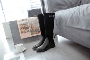 full grain leather zipper limited customization med heels patch work luxury riding rivets knee high boots