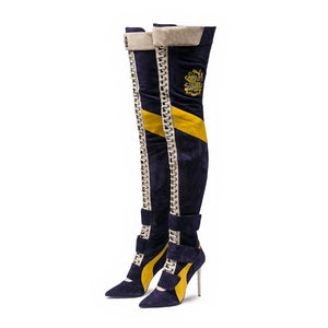 New Arrival Blue Patchwork Thigh high boots Women pointy toe High heels Lace up botas largas Sexy Over the knee knight boots