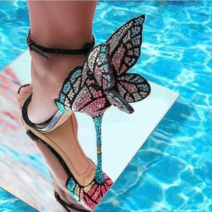 New Arrivals Multicolor Rhinestone Sandals Female Shoes Luxury Crystals Heel Butterfly Sandals High Heel Bridal Party Shoes