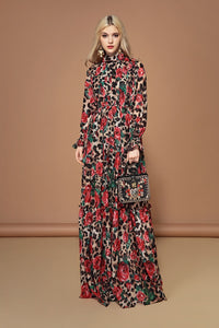 Fashion Runway Long Sleeve Maxi Dresses Women's Elegant Party Rose Floral Leopard Print Long Dress Holiday Dress