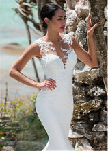 Load image into Gallery viewer, Sexy Mermaid Wedding Dress Sleeveless Lace Appliqued Illusion Back Boho Wedding Gown Long Train Bride Dress - LiveTrendsX