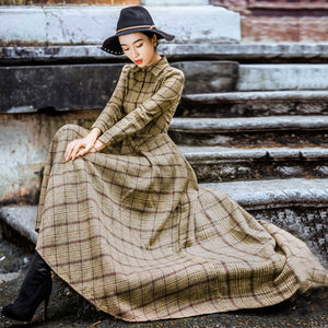 Vintage Plaid Wool Dress Women Winter Thicken Warm Elegant Stylish Ladies Skinny Retro Long Party Shirt Dresses Sale