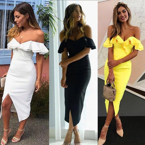 New Women Bandage Dress Summer Sexy Ruffles Club Dress Runway Bodycon Off The Shoulder Celebrity Party Dresses Vestidos