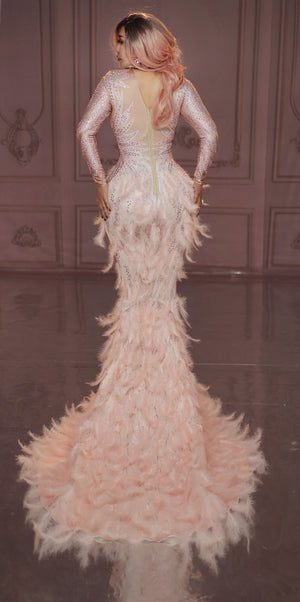 Sparkly Rhinestones Pink Feather Nude Dress Sexy Full Stones Long Big Tail Dress Costume Prom Birthday Celebrate Dresses - LiveTrendsX
