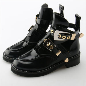 Punk Booties Buckle Straps Thick Heel Black Ankle Boots Cut Out Woman Boots Motorcycle Brand Designers Round Toe Summer Shoes - LiveTrendsX
