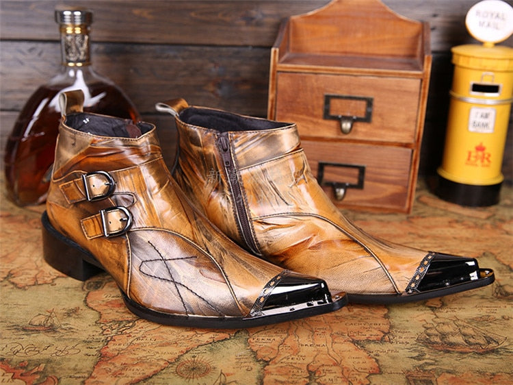 italian military dress boots steel pointed toe high heels western styles brown double buckle strap cowboy boots shoes man - LiveTrendsX