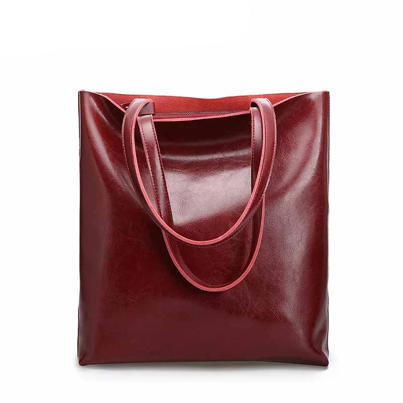 Vintage Real Genuine Leather Handbags Big Women Hand Bags Female Shopper Hangbags High Quality Office Ladies Shoulder Bags - LiveTrendsX