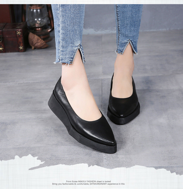 Genuine Leather Women Pumps Pointed Toe Low Heel Shoes Black Lazy Shoes Retro Women Pumps Handmade Women Wedge Shoes - LiveTrendsX