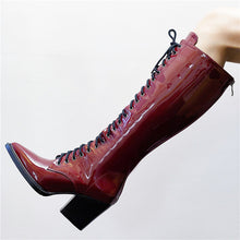 Load image into Gallery viewer, top quality patent leather knee high boots women pointed toe lace up autumn winter boots fashion punk shoes woman - LiveTrendsX