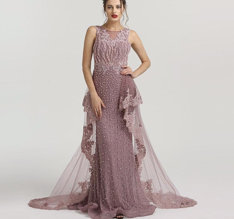 New Mermaid Sleeveless Sexy Evening Dresses Pearls Fashion Off Shoulder Evening Gowns 2020