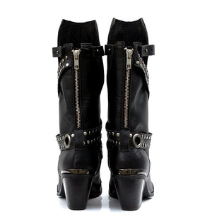 Rivet Pointed Toe Luxury Brand Women Winter Boots Genuine Leather High Heel Chunky Metal Stud Mid-calf Boots - LiveTrendsX