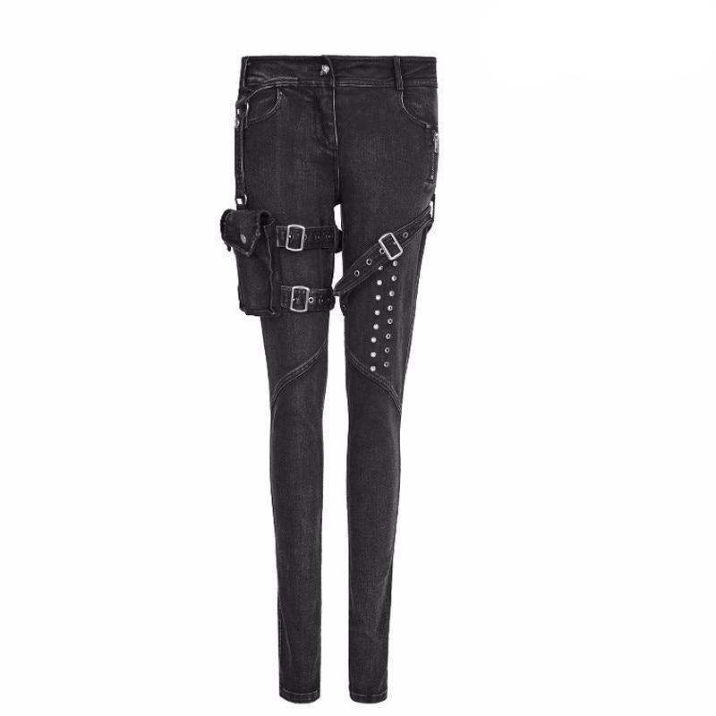 Fashion Women Punk High Waist Full length Pencil skinny Jeans Gothic bag belt  decoration cowboy black pants PUNK RAVE K-295 - LiveTrendsX