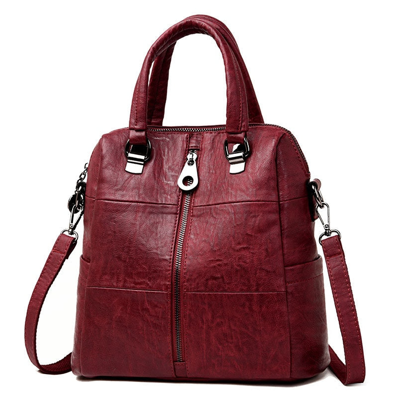 3-in-1 Women Leather Backpacks Vintage Female Shoulder Bag Sac a Dos Travel Ladies Bagpack Mochilas School Bags For Girls Preppy - LiveTrendsX