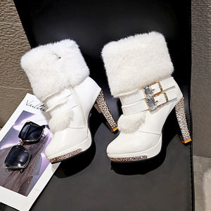 Women High end Boots Super High Fashion Warm Double Buckle Faux Fur Crystal Casual Shoes Thin Heels Ladies Boots - LiveTrendsX