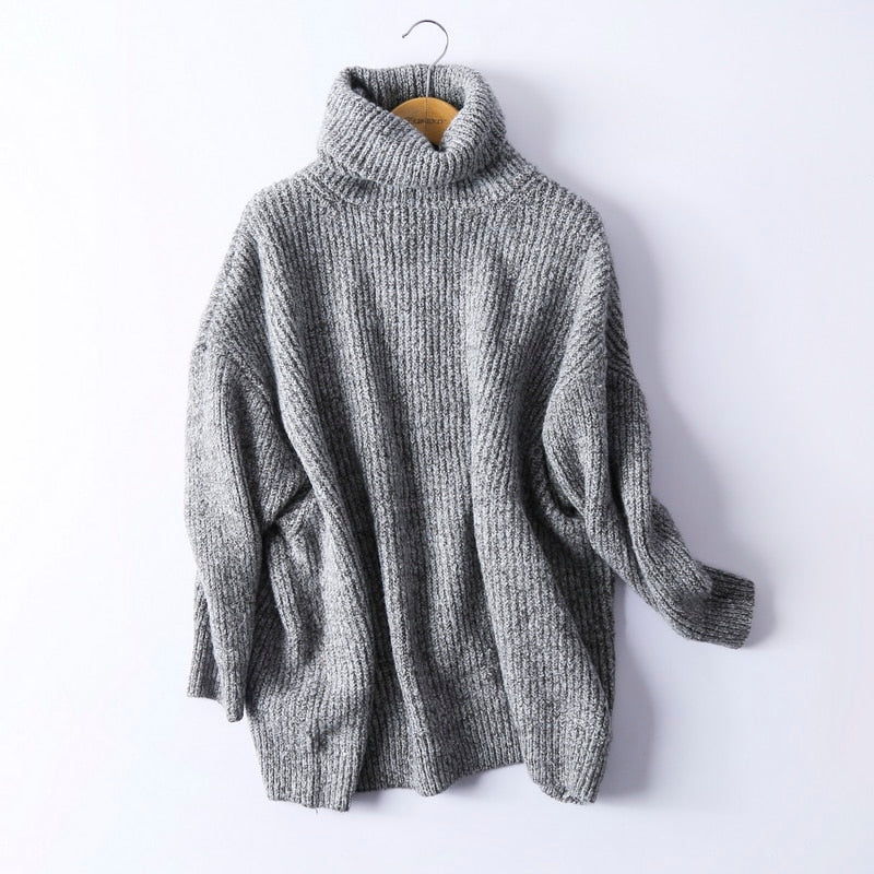 Women Oversize Basic Knitted Turtleneck Sweater Female Solid Turtleneck Collar Pullovers Warm 2020 New Arrival - LiveTrendsX
