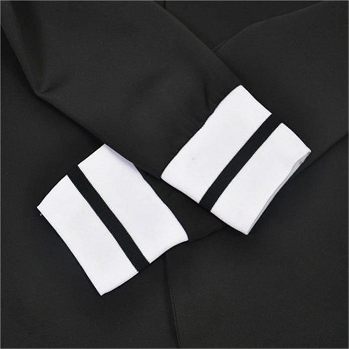 women 2 two Piece Set suits Long sleeve stand-up collar buttonless Black and white tracksuit - LiveTrendsX