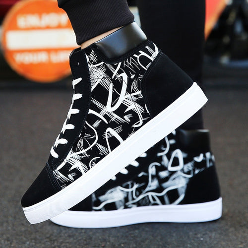 New Design Hip-Hop Fashion Graffiti High Tops Men's Shoes Casual Breathable Comfortable Rubber Sneakers Outdoor Footwear Flats - LiveTrendsX